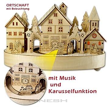 Weihnachtsdeko Weihnachtsdorf.092 Led Weihnachtsdorf Aus Holz Spieluhr Weihnachten Deko