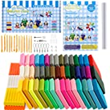 Polymer Clay Starter Kit, 50 Colors Oven-Bake Clay, 33 Models Creations Book, Rolling Pin, Plastic Tools and Accessories