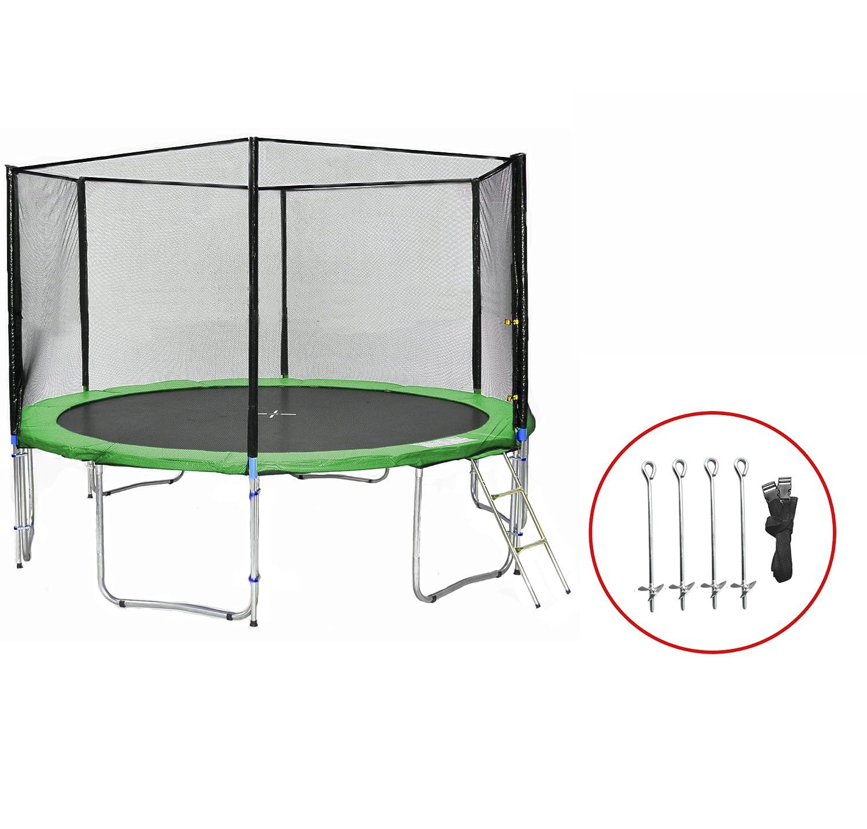 SB-400-GA Gartentrampolin 400cm incl. Netz, Leiter, Bodenanker, 180kg Traglast
