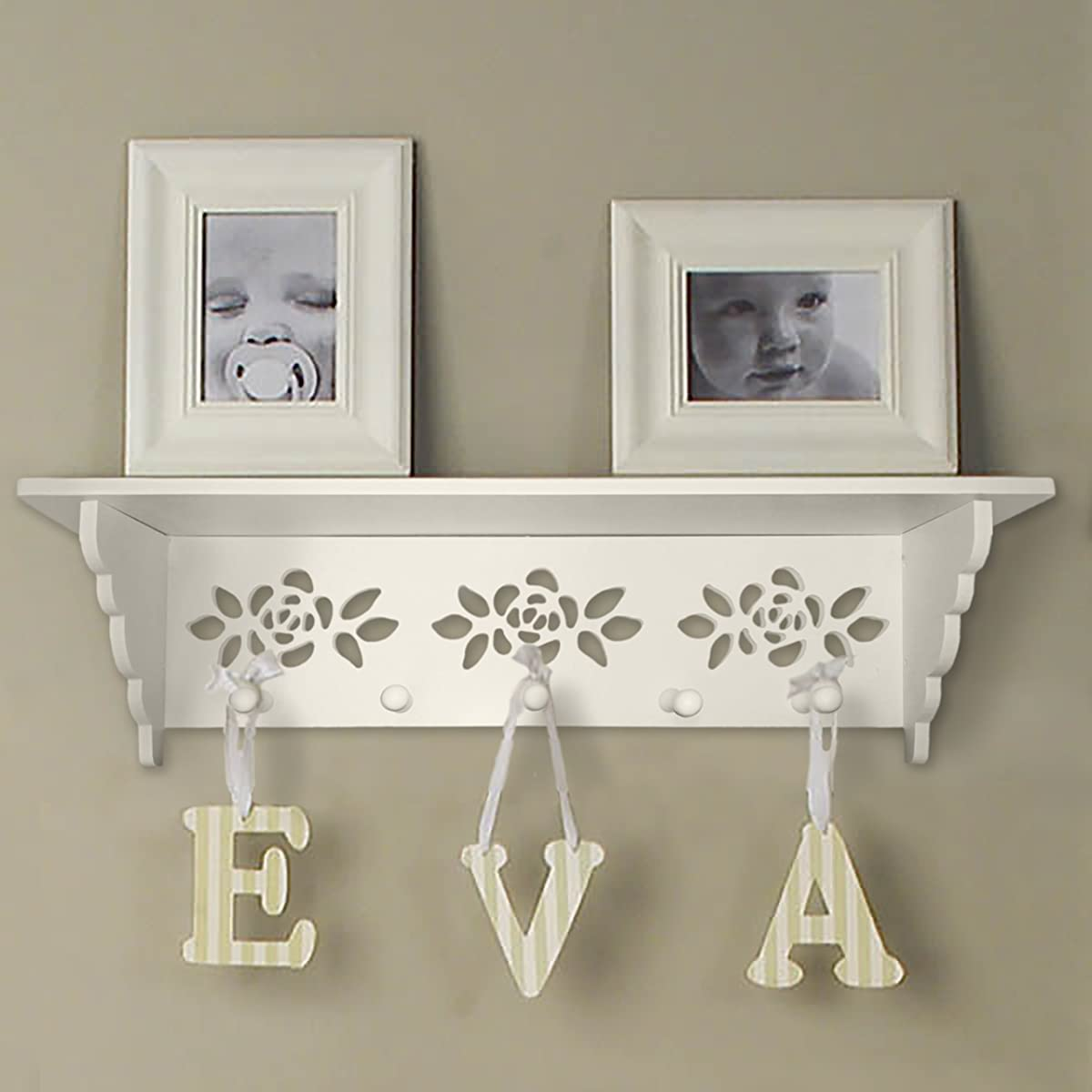 Hook Rack with Shelf on Top,White Laser Cut 5 Pegs Perfect for Your Keys or Hang Coat and Accessories Neatly on Top. Includes Mounting Hardware