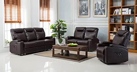 Lovesofas New Lazy Boy Cinema Style Recliner 3 + 2 + 1 Bonded Leather Sofa Suite - Brown