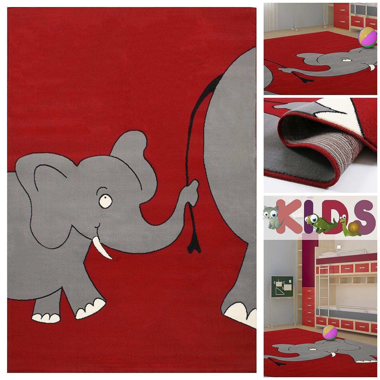 Kinderteppich Spielteppich mit lustigen Elefanten in Rot | Teppich mit Elefant Tier-Motiv für Mädchen & Jungen | Kids Teppiche fürs Kinderzimmer, Babyzimmer & Spielzimmer, Farbe:Rot;Größe:80x150 cm