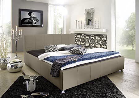 SAM® Polsterbett KIRA 160 x 200 cm muddy gesteppt chromfarben Fuße komfortabel modisch schlicht Lieferung erfolgt uber Spedition teilzerlegt