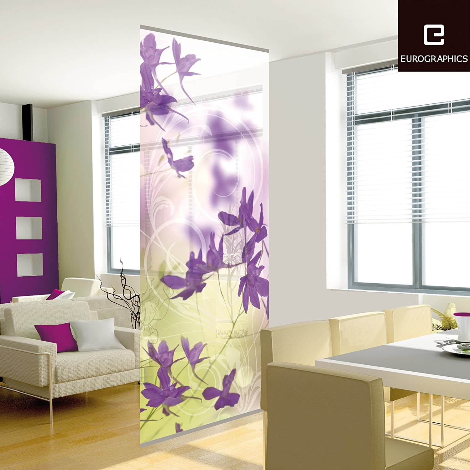 purple blossoms hanging room divider 3 feet 3 inch by 7 feet 10 inch