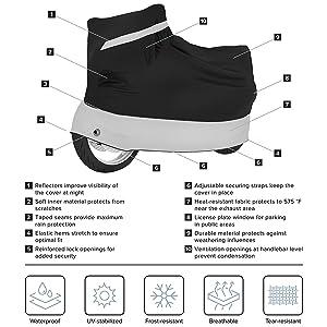 Medium - 81 x 35 x 47 in Velmia Motorcycle Cover Waterproof Outdoor /& Indoor