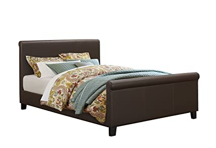 Birlea Hudson 5ft Kingsize Faux-Leather Bed, Brown