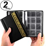 CenterZ 2 Pack of 120 Pockets Coin Album, 4.4 x 6.1 Handy Souvenir Penny Book, Coins Collection Holder for Pennies Collecting Passport, Hobby Coin Collector, Money Specie Display Storage Case (Black) (Color: Black & Gold, Tamaño: 2pack, 120 Pockets)