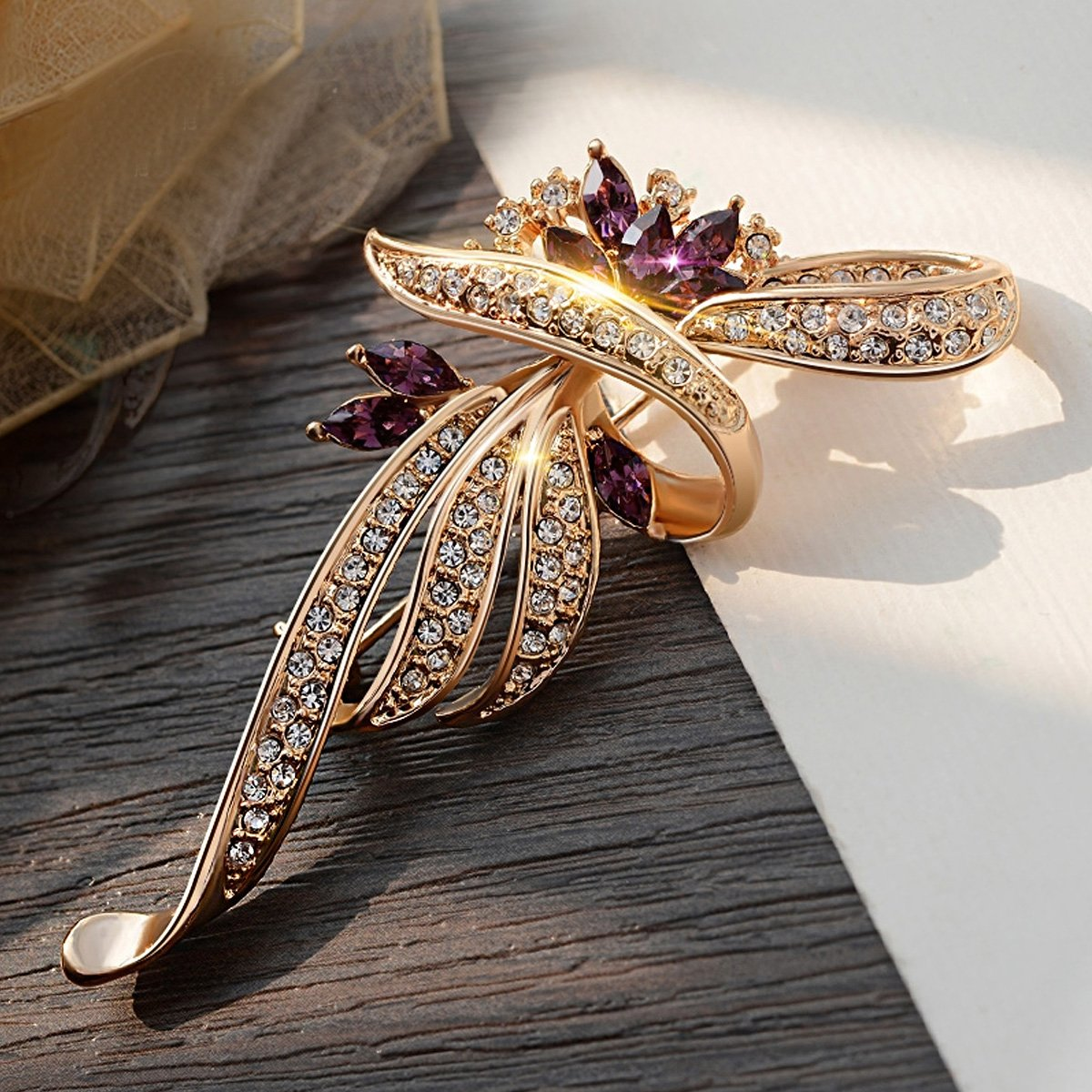 Merdia Created Crystal Brooches for Women Fancy Vintage Style Brooch Pin,Purple color 1