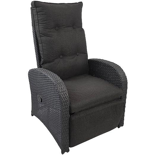 Wohaga® Poly-Rattan Sessel Gartensessel Rattansessel Relaxsessel Loungesessel Fernsehsessel mit Fußteil und Auflage Lehne stufenlos verstellbar Rattanmöbel Gartenmöbel