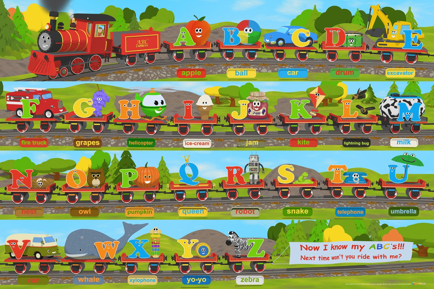 Alphabet Train Poster XL, 36x24, Great Train Theme With Large Letters And Objects!