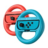 ATECH INNOVATION Nintendo Switch Steering Wheel Mario Kart 8 Deluxe Compatible with Joy-Con Controllers - Red/Blue (Pack of 2)