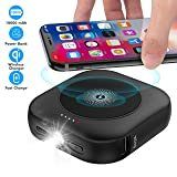 Wireless Portable Charger(USB-C Input),10000mAh 3-Port Power Bank,Pocket-Sized Type-C External Battery Pack Fast Charger with Emergency LED Flashlight Compatible with iPhone,Samsung and More-Black (Color: Black)