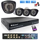 iSmart 8 Channel 720P HDMI AHD DVR HVR NVR with 1TB HDD 3 in 1 Security System including 4 1200TVL 1.0MP Waterproof Bullet Surveillance Camera with 27 IR Leds Night Vision Up to 80ft Remote View