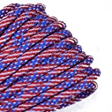 BoredParacord - 1', 10', 25', 50', 100' Hanks & 250', 1000' Spools of Parachute 550 Cord Type III 7 Strand Paracord WELL Over 300 Colors - Stars and Stripes - 100 Feet