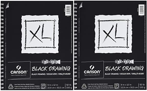 Canson XL Series Black Drawing Paper for Pencil, Acrylic Marker, Opaque Inks, Gouache and Pastels, Side Wire, 92 Pound, 9 x 12 Inch, Black, 40 Sheets (?wo ?ack) (Tamaño: ?wo ?ack)
