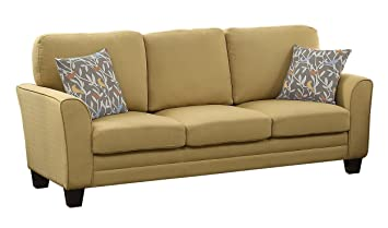 Homelegance 8413YW-3 Fully Upholstered with Piping Trim Linen Like Fabric Yellow Sofa