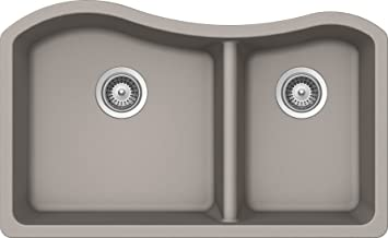 SCHOCK ASHN175U042 ASH Series CRISTALITE 70/30 Undermount Double Bowl Kitchen Sink, Concrete