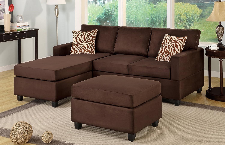 Bobkona Manhattan Reversible Microfiber 3-Piece Sectional Sofa Set, Chocolate