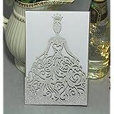 KAZIPA 25PCS Laser Cut Wedding Invitations + White Inside Paper + Envelopes, 4.7'' x 7''Gold Invitations for Bridal Shower Quinceanera Favor Birthday Bachelorette Party, Silver