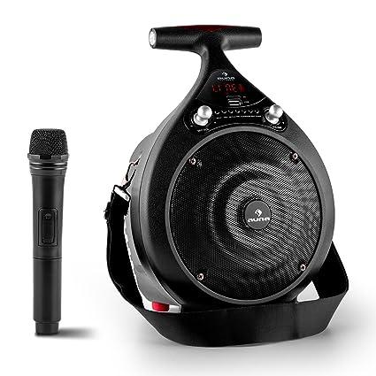 Auna Bassdrop - Enceinte Bluetooth portable avec micro, batterie, ports USB et microSD et entrée AUX (30W RMS, bassreflex, télécommande incluse) - noir