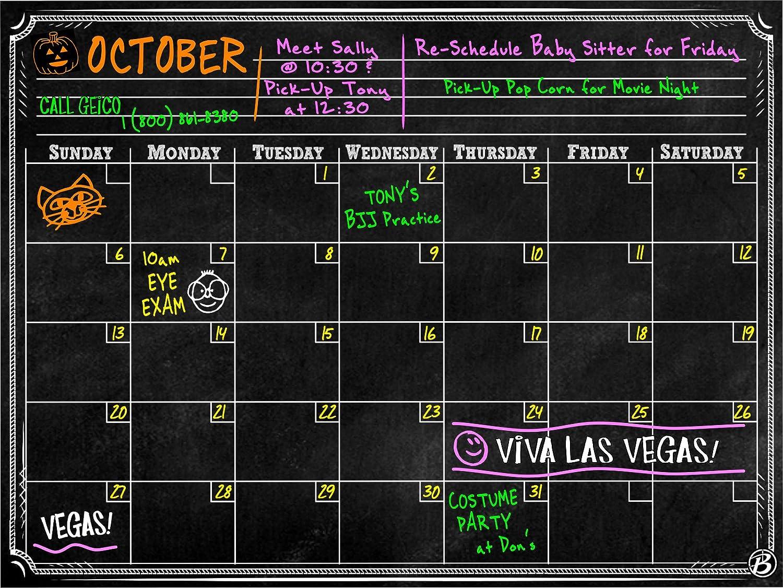 Bigtime Magnetic Refrigerator Calendar Dry Erase Black Chalkboard Board 2016 Design | Monthly for Kitchen Fridge| Use w/ Wet Wipe Fluorescent or Neon Markers