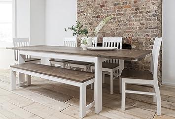 Noa and Nani - Conjunto de mesa de comedor, 5sillas y banco y 2extensiones, color blanco y madera de pino oscura