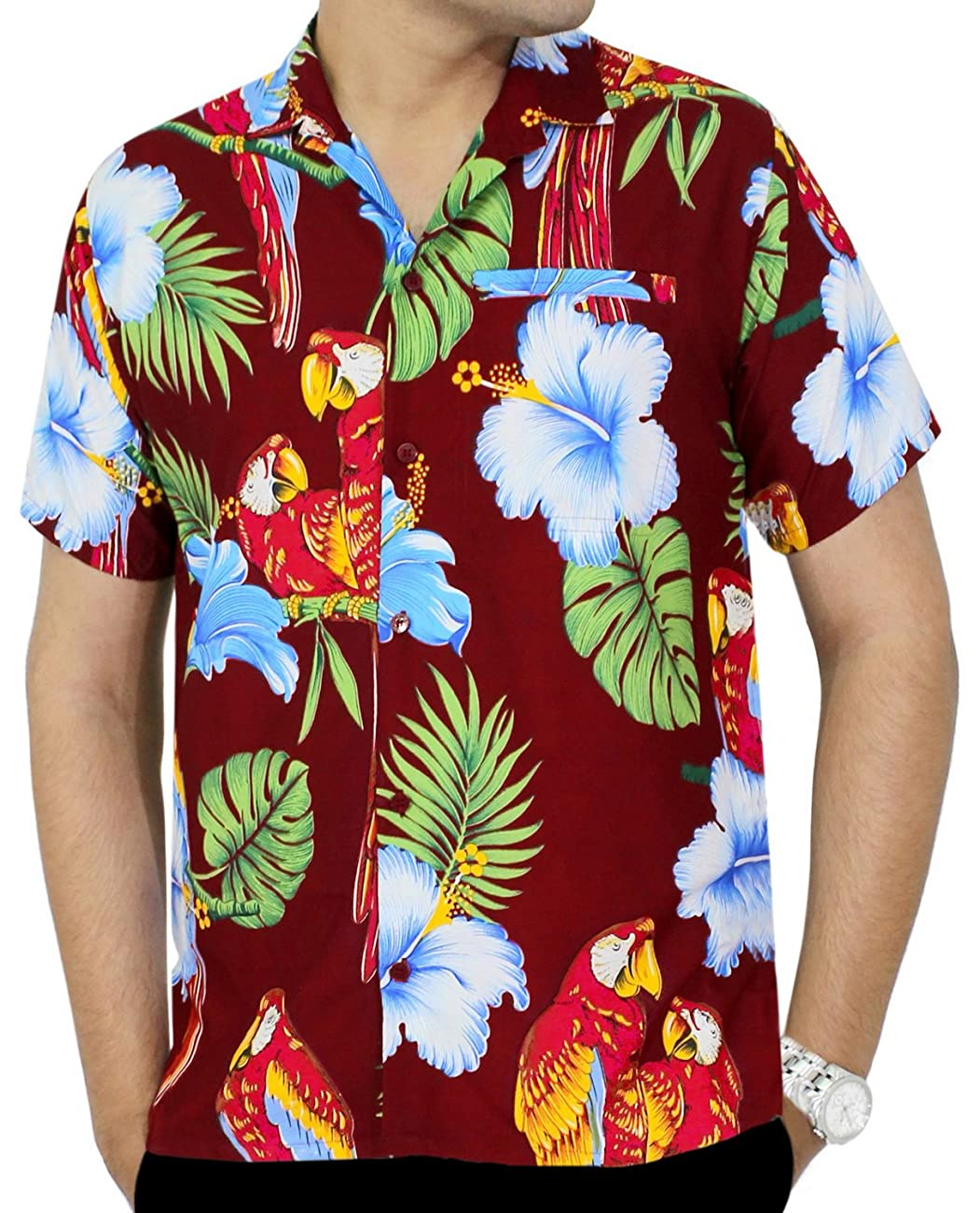 La Leela Hawaiian Shirt For Men Short Sleeve Front-Pocket Printed In Many Colors 0