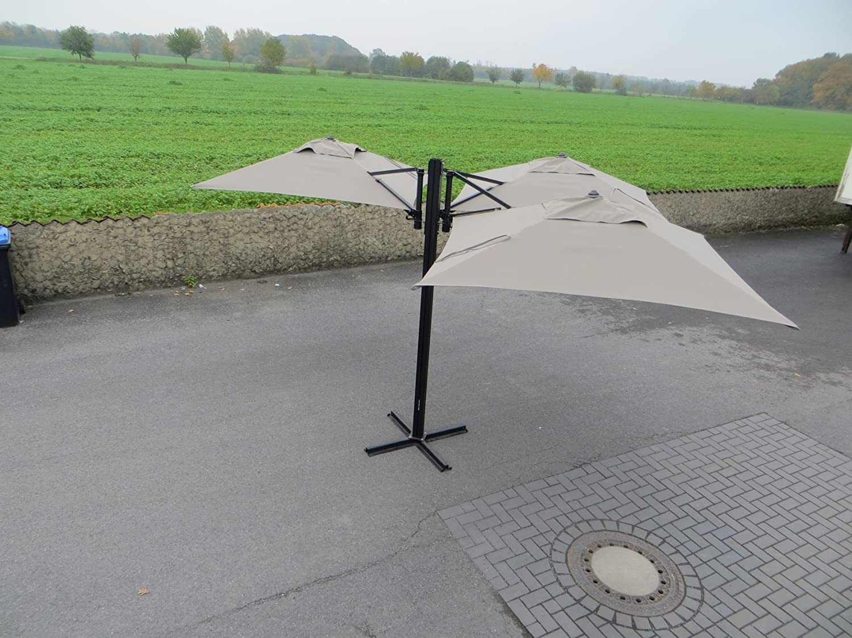 "Madison Gastronomie Gartenschirm ""Murano III"" mit drei separat verstellbaren Schirmen in taupe, UV-Schutz 40 Plus jetzt bestellen"