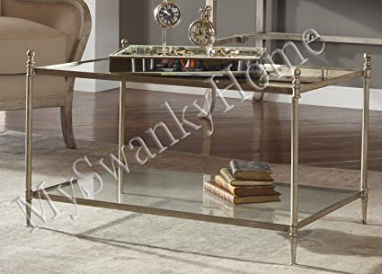Minimalist Silver Iron and Glass Coffee Table