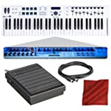 Arturia KeyLab Essential 61 Universal MIDI Controller and Software with Sustain Pedal + MIDI Cable + Fibertique Cloth