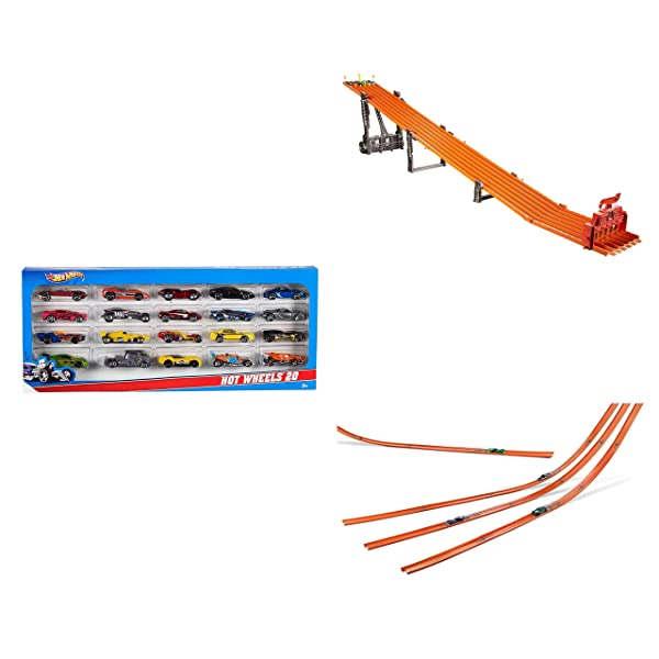 Island Time Brands Bundle Includes 3 Items - Hot Wheels Super 6-Lane Raceway and Hot Wheels 20 Car Gift Pack (Styles May Vary) and Hot Wheels Car Mega Track Pack