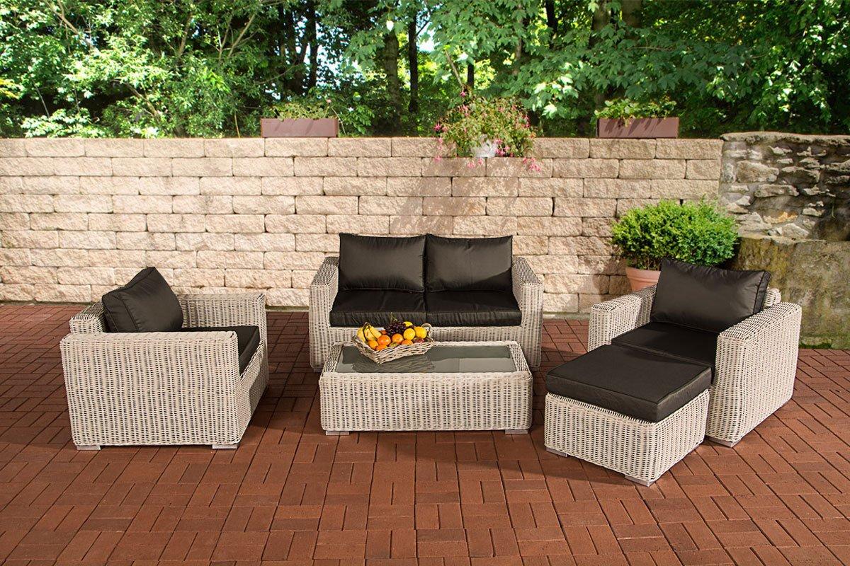 CLP Polyrattan Gartengarnitur MADEIRA 2-1-1 perlweiß, inkl. Sitz- und Rückenpolster, aus bis zu 5 Bezugsfarben wählen perlweiß, Bezugfarbe anthrazit günstig online kaufen