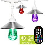 Enbrighten Seasons LED Warm & Color Changing Café String Lights with Stainless Steel Lens Shade, White, 48', 24 Impact Resistant Lifetime Bulbs, Wireless, Weatherproof, Indoor/Outdoor, 43389 (Color: White Stainless Steel, Tamaño: 48 ft.)