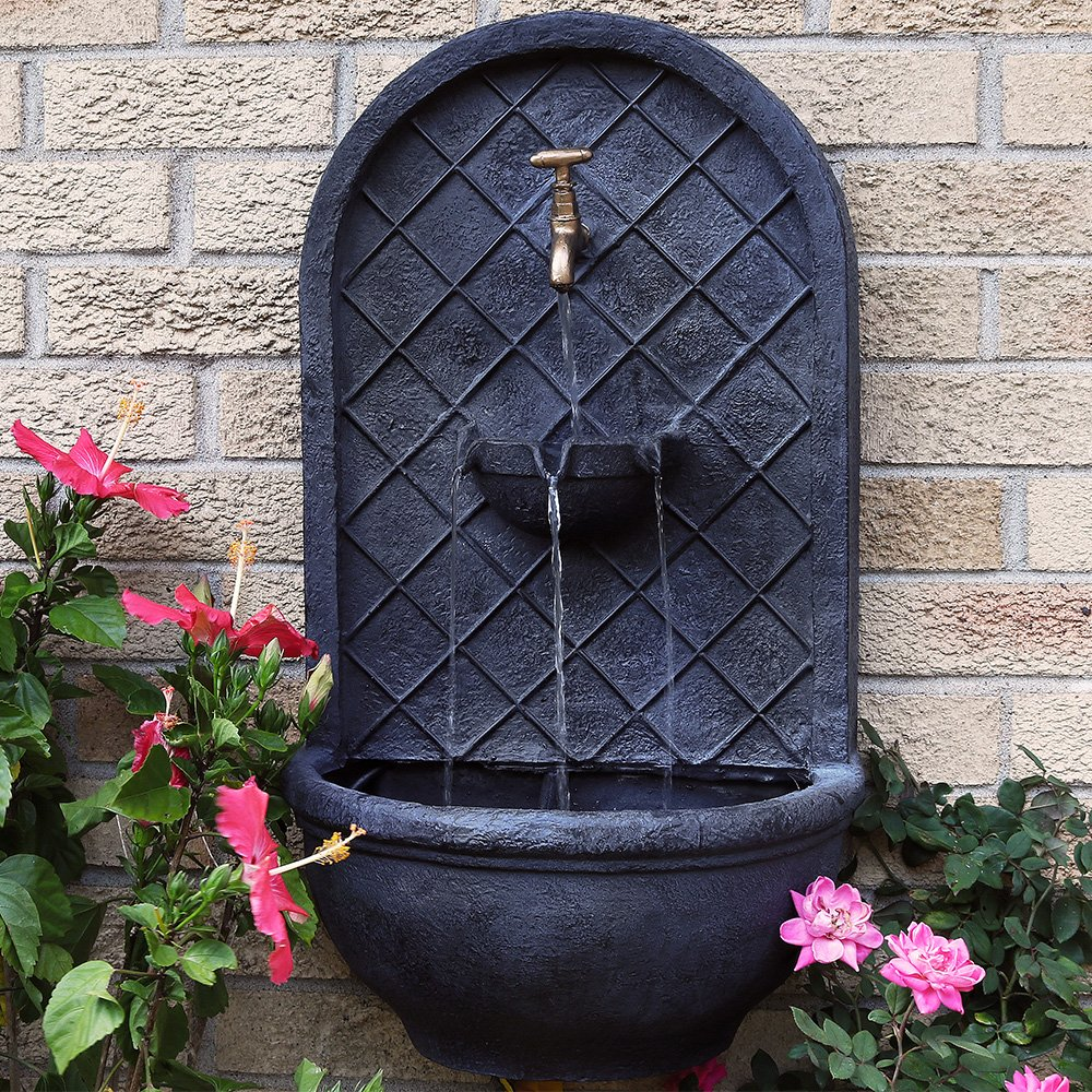 Sunnydaze Messina Outdoor Wall Fountain, with Electric Submersible Pump 26-Inch, Lead Finish