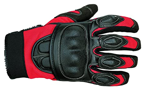 NERVE 1513120201_04 Sporty Gants Moto Eté en Cuir Textile, Noir/Rouge, Taille : L