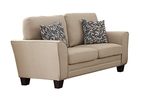 Homelegance 8413BE-2 Fully Upholstered with Piping Trim Linen Like Fabric Beige Love Seat