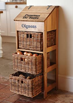 French Farmhouse Wooden Vegetable Store with 3 Large Wicker Drawers and Potato Store W35 x D31 x H90cm