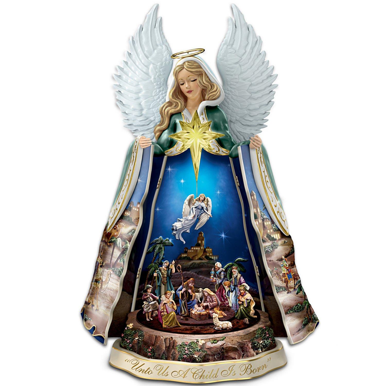 Thomas kinkade o holy night christmas stocking - Thomas Kinkade Talking Nativity Angel Sculpture With Music And Animation By The Bradford Exchange