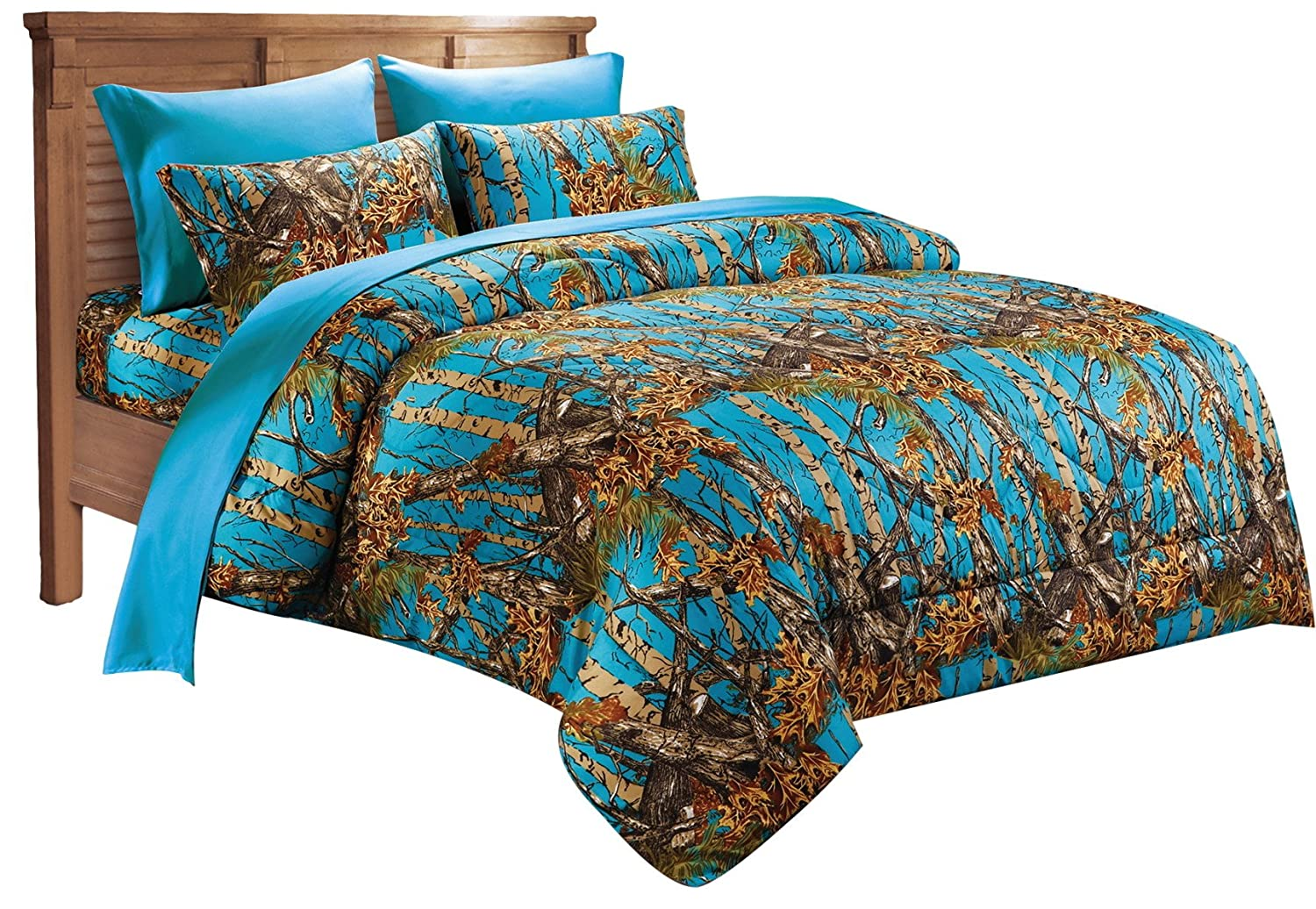 7 PC SEA BREEZE CAMO COMFORTER AND SHEET SET QUEEN