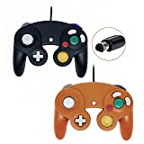 Wired Controller for Gamecube Game Cube, Classic NGC Gamepad Joystick for Wii Nintendo Console (Black and Orange,Pack of 2) (Color: Black and Orange)