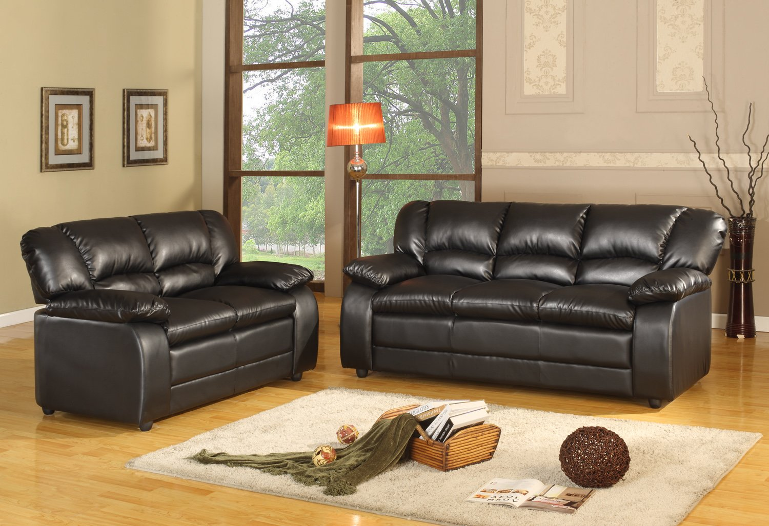 kings brand sky black leather sofa love seat living room set new