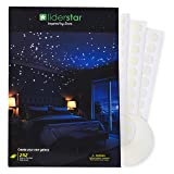 Glow In The Dark Stars Wall Stickers,252 Adhesive Dots and Moon for Starry Sky, Decor For Kids Bedroom or Birthday Gift,Beautiful Wall Decals for any Room by LIDERSTAR,Bright and Realistic. (Color: White fluorescent, Tamaño: Small)