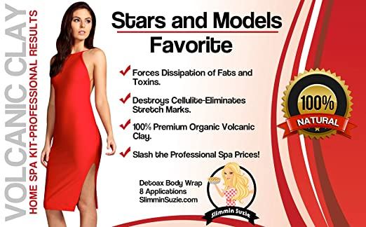 Slimmin'Suzie-The #1 BEST Volcanic Clay Body Wraps For Weight Loss-Organic Detox Body Wrap Clay Kit-It Works On Stomach, Thighs & Arms-Perfect For Body Contouring, Cellulite & Stretch Marks-8 Packets.