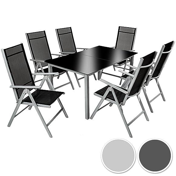 TecTake Alluminio set mobili da giardino 6+1 tavolo sedie pieghevole arredo esterno - disponibile in diversi colori - (Grigio argento | No. 402167)