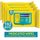 Preparation H Flushable Medicated Hemorrhoid Wipes, Maximum Strength Relief with Witch Hazel and Aloe, Pouch (4 x 48 Count, 192 Count) (Tamaño: 48 Count (Pack of 4))