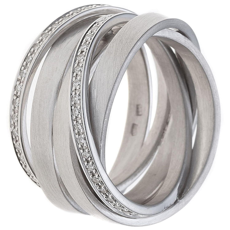 Damen Ring 585 Weißgold teilmattiert 47 Diamanten Brillanten günstig online kaufen