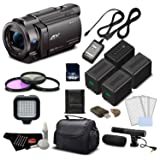 Sony 4K HD Video Recording FDRAX33 Handycam Camcorder- Deluxe Bundle w/Accessories (Tamaño: Deluxe)
