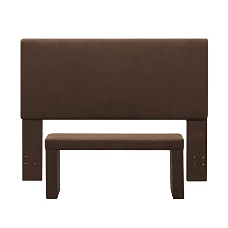 Handy Living 40HB-FQ-AAA89 Nelson Microfiber Headboard and Bench Set, Full/Queen, Brown