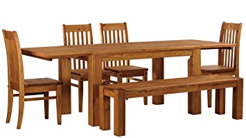 Brasilmöbel Esstisch Rio Classico 250x90 cm inkl. Ansteckplatten + 4 x Stuhl Rio Classico + Sitzbank Rio Kanto 160x38 cm Farbton Honig