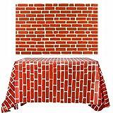 Chuangdi 2 Sheets 4.5 x 9 Feet Brick Decal Photo Brick Wall Backdrop Brick Wallpaper for Winter/Christmas Party (Red Brick) (Color: Red Brick)